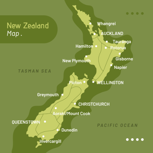 Neuseeland Karte Vektor