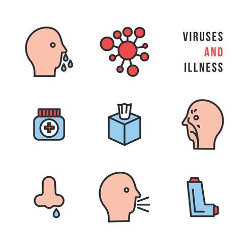 Virus och sjukdom ikoner