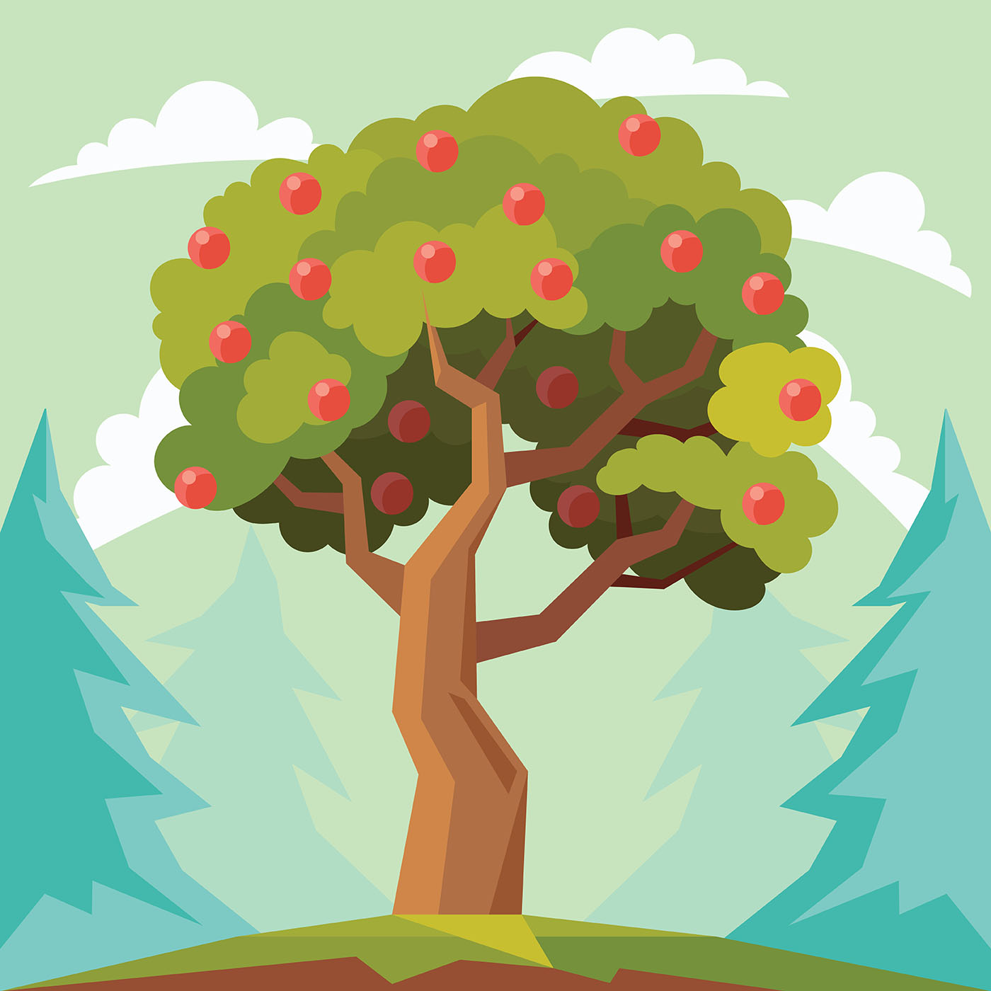 Vector Illustration Tree: Peach Tree Vector Illustration