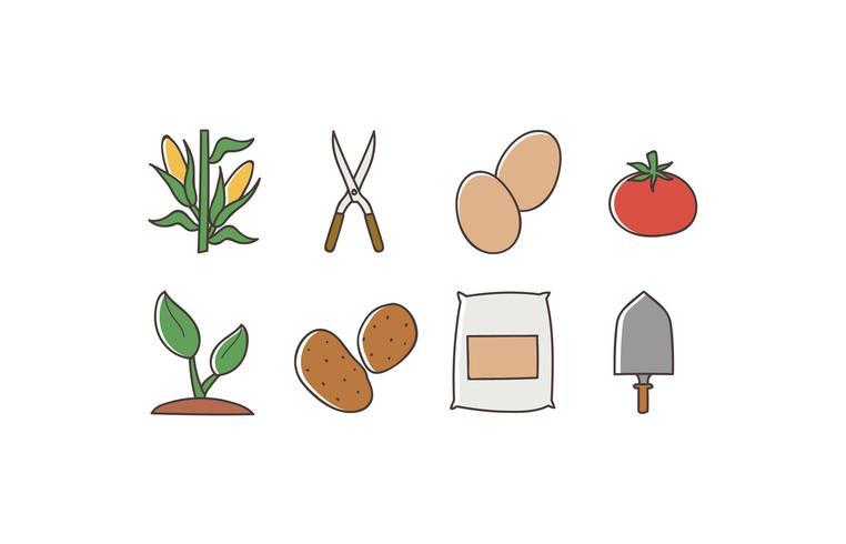 Paquete de iconos de doodle de agricultura vector