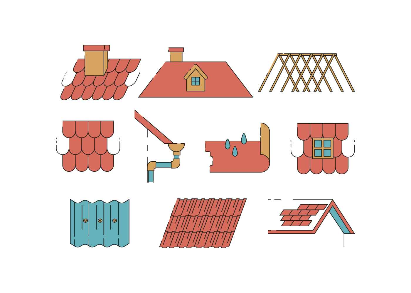 Roofer Vector Roof Icons Vect...