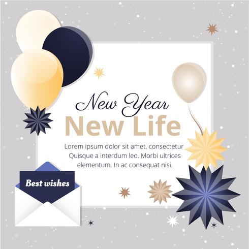 free flat design vector new year greeting card