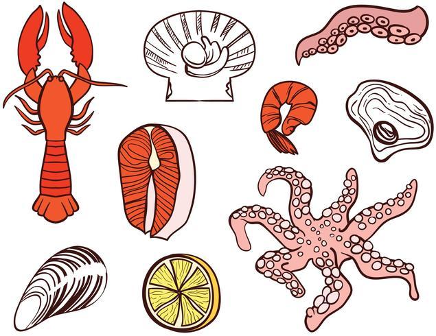 Vecteurs de fruits de mer vecteur