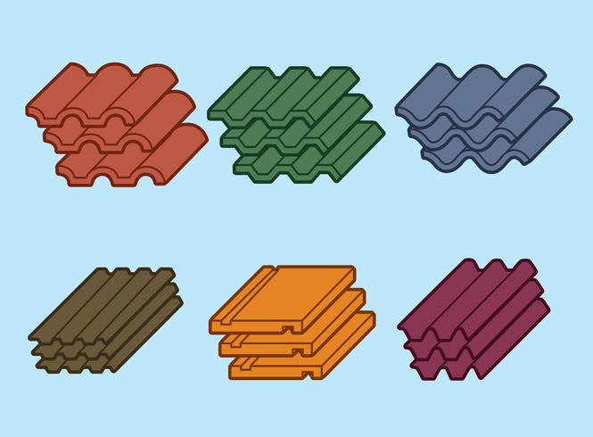 Roof Tile On Blue Vector