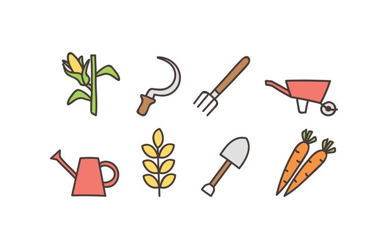 Agriculture doodle icon set