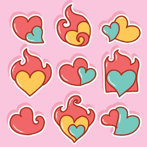 handritad flammande hjärta vektor