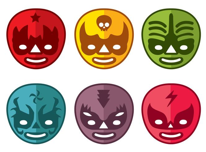 Colored Mexican Wrestler Mask Vector