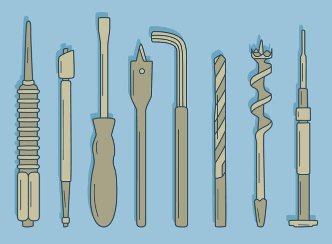 Hand Drawn Repair Tool Collection On Blue Vector