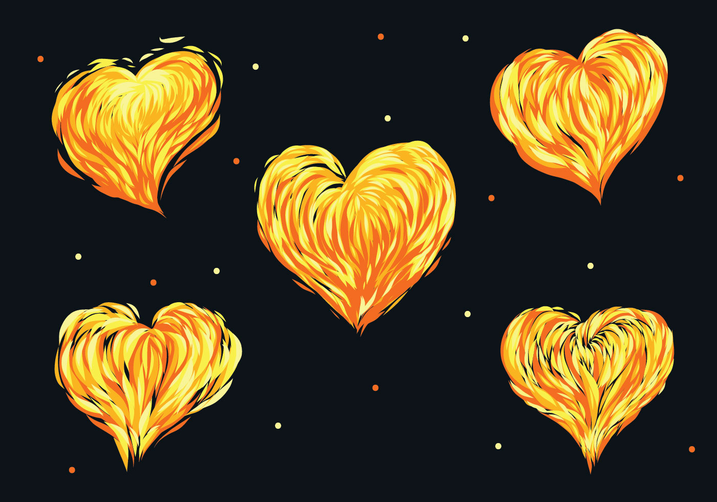 Flaming Heart Vector Pack - Download Free Vectors, Clipart