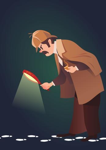 Detective buscando una pista