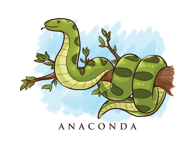 anaconda tecknad illustration