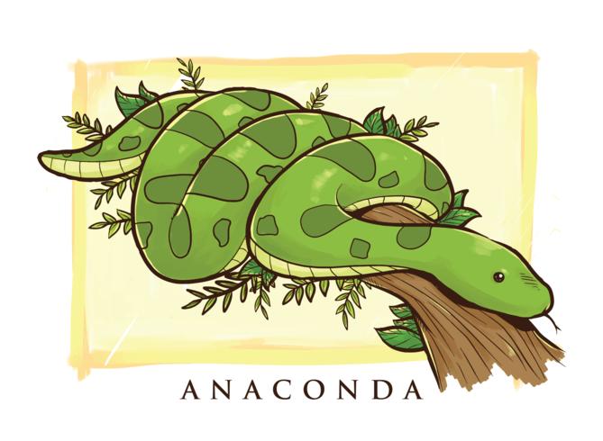 Anaconda Cartoon Illustratie