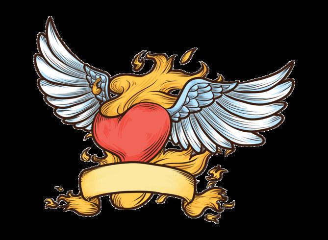 Ilustración de Vector de corazón llameante