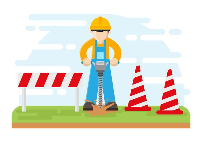 Worker Drilling with Auger Vector Illustration