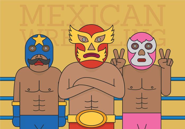 Vector de luchador mexicano