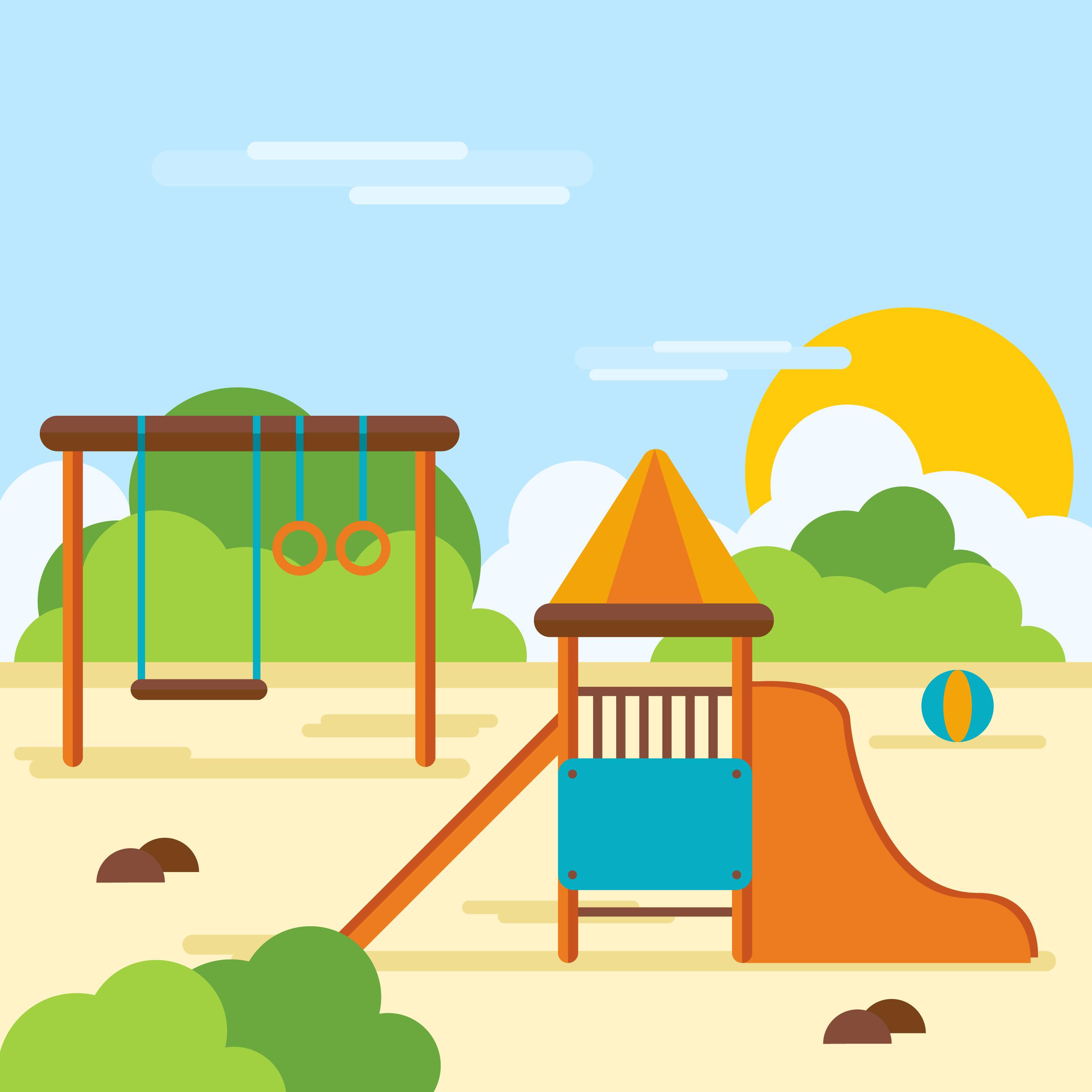 Happy Kids In A Playground Art