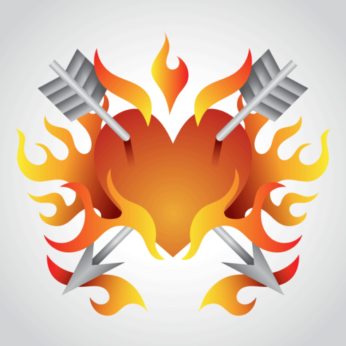 Heart in Flame Vector