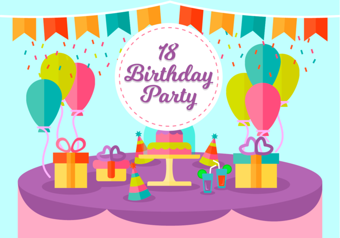 18 Years Birthday Party Free Vector Illustration