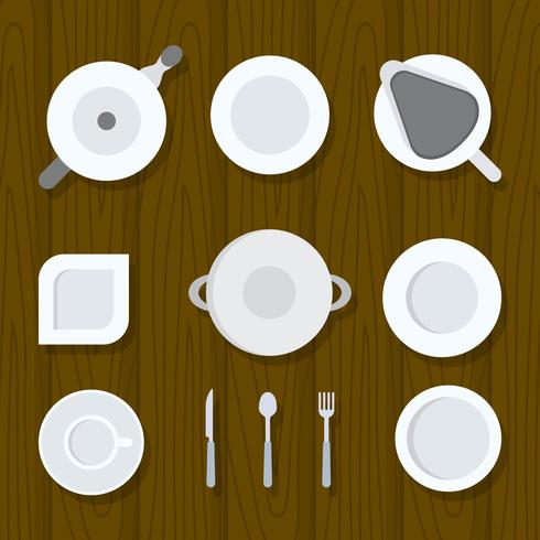 Flat Top View Crockery set Vector Illustration