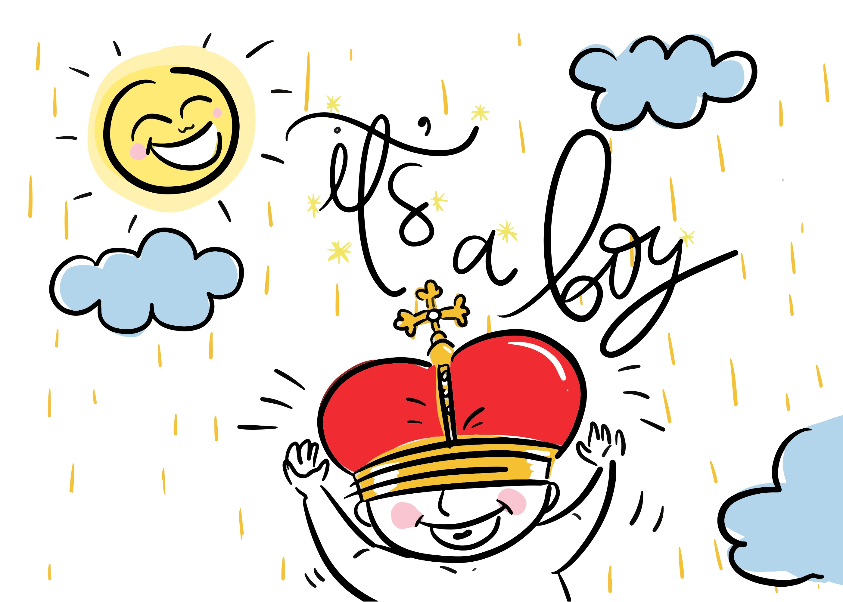 Baby Shower Invitation Hand Drawn Vector - Download Free Vector Art ...