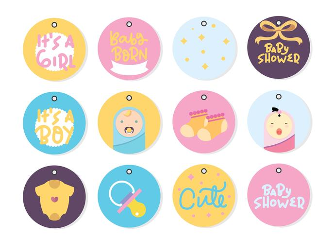 Baby shower Hang Tag Pack Vector