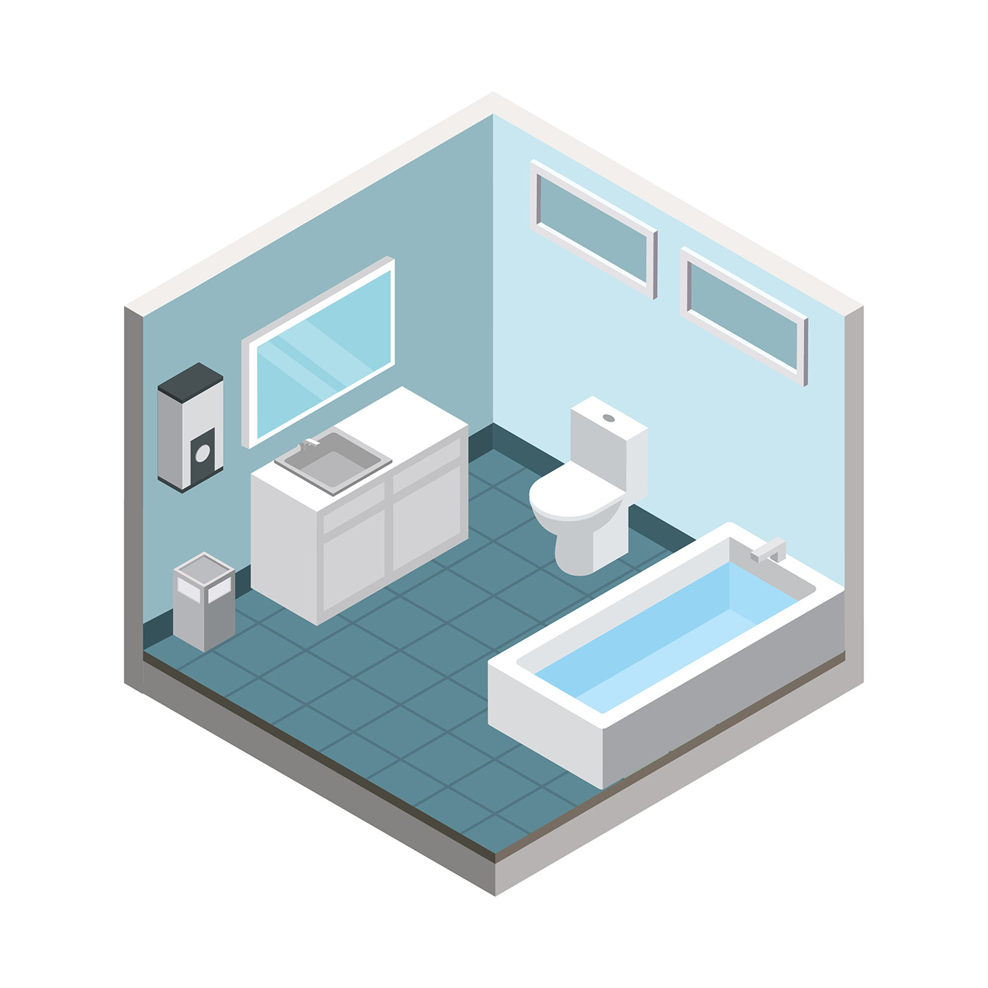 Bathroom isometric free vector download free vector art for 3d bathroom drawing