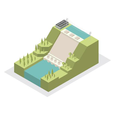 Water Power Plant Isometric Vector