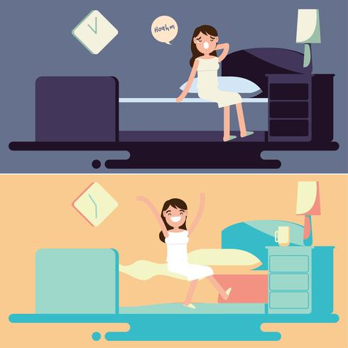 Bedtime and Morning Illustration Vector