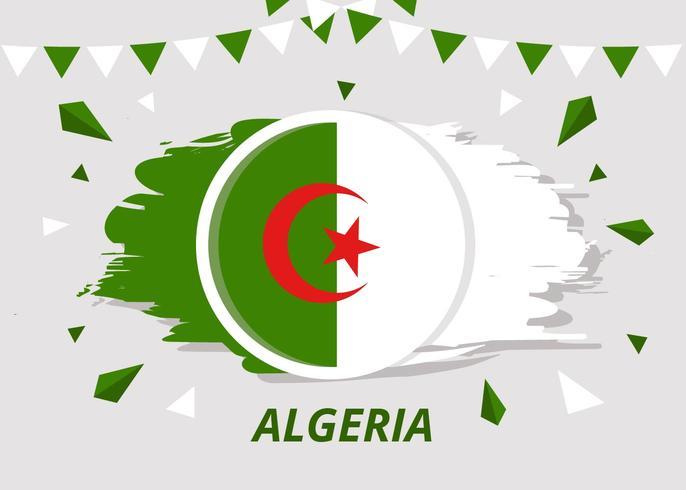 Pensel Flagga Algeriet Vector