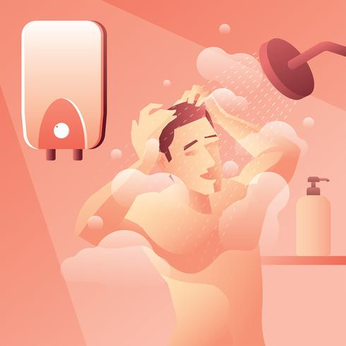Water Heater Man Taking a Shower Vector