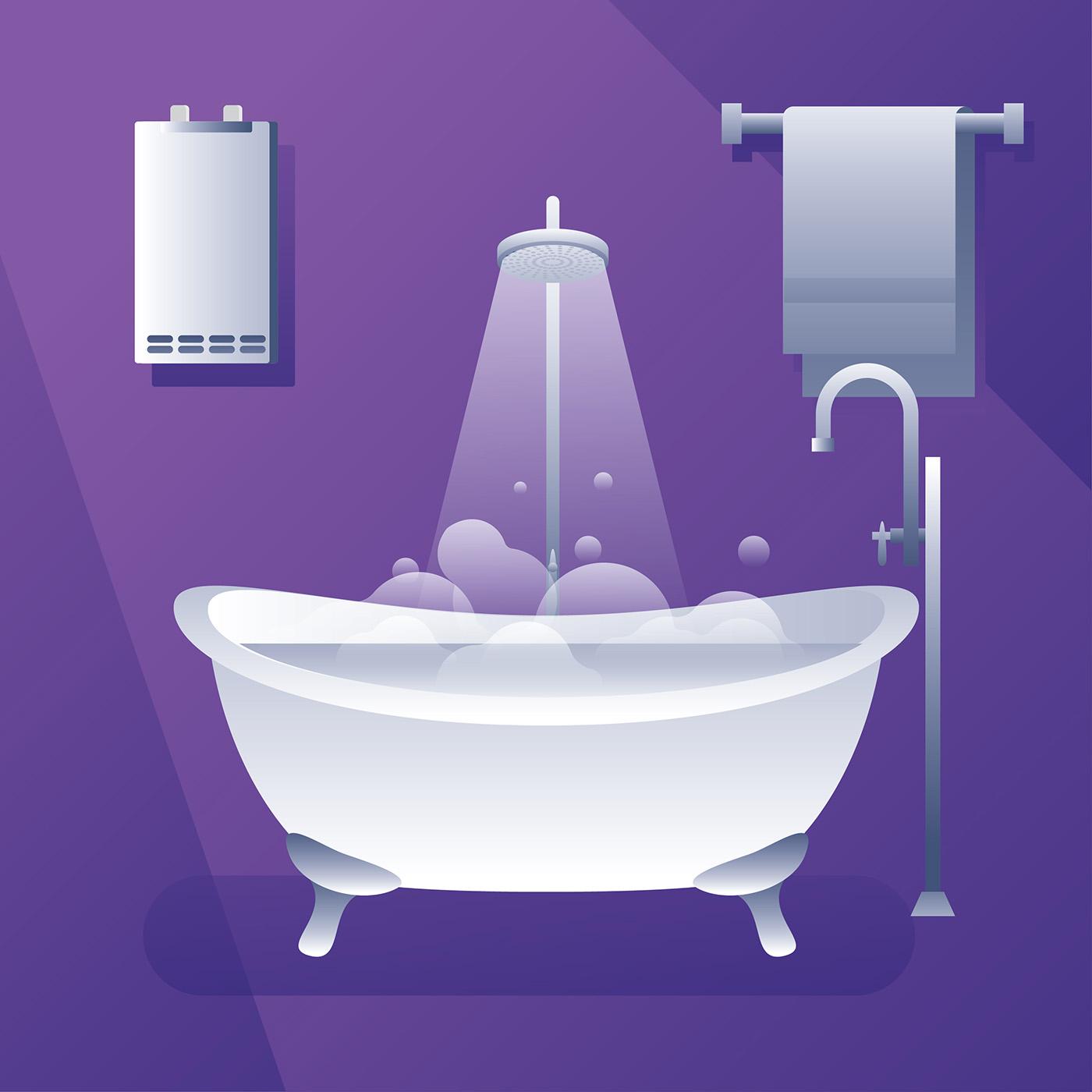 Water Heater Bath Tub Vector - Download Free Vector Art, Stock ...
