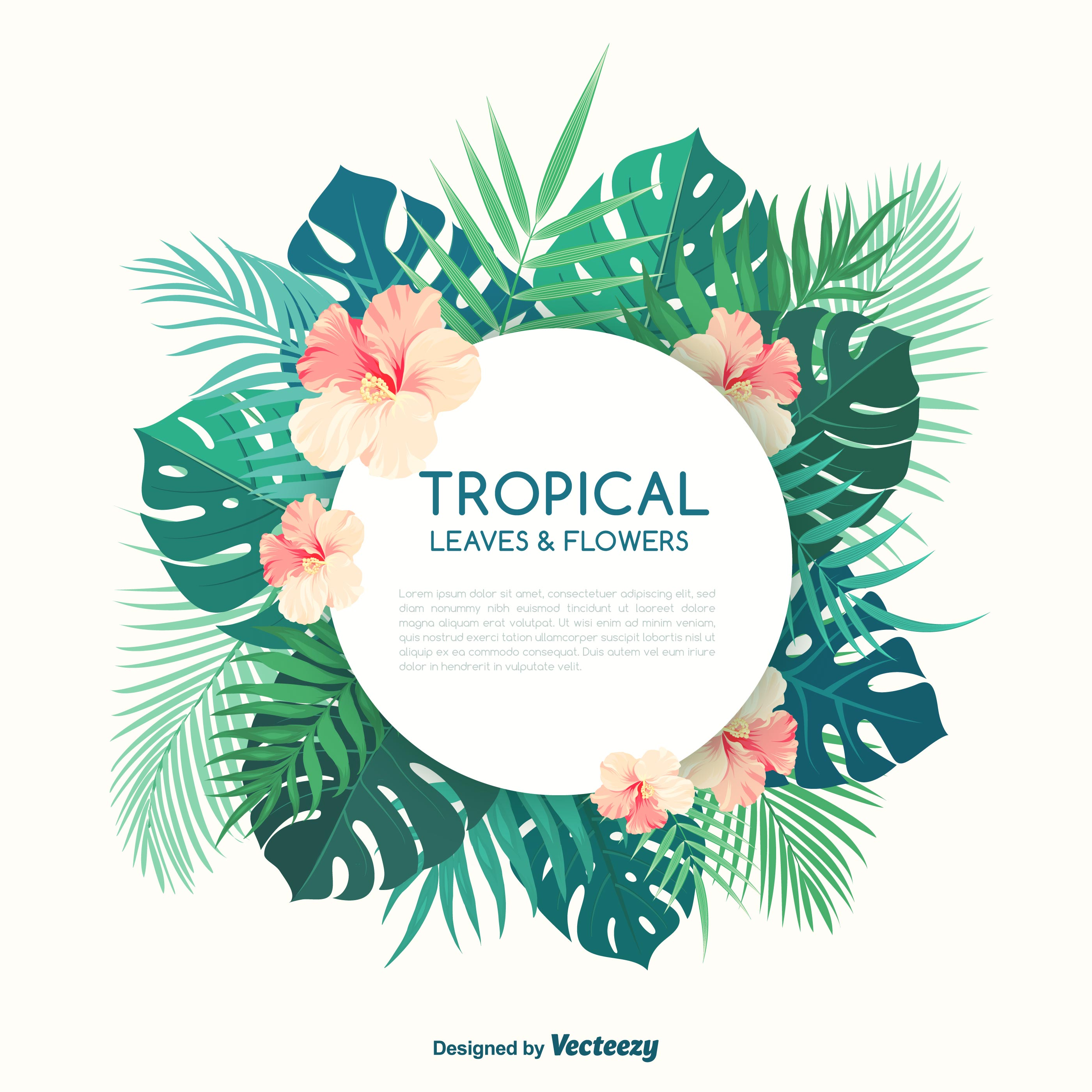 Tropical Palm Leaves And Hibiscus Flowers Vector Banner Download
