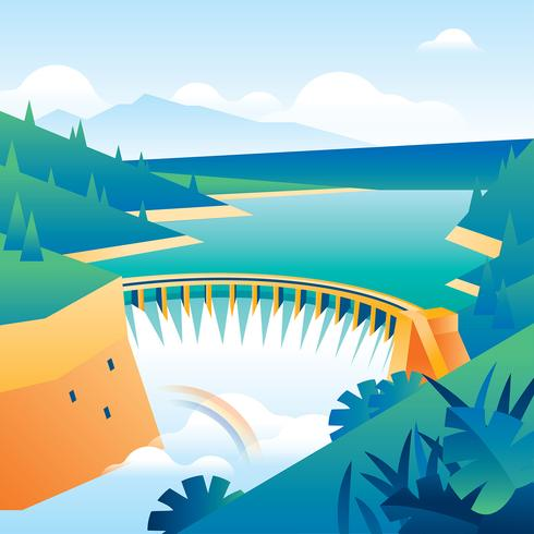 Natural Resources Water Power Plant Free Vector