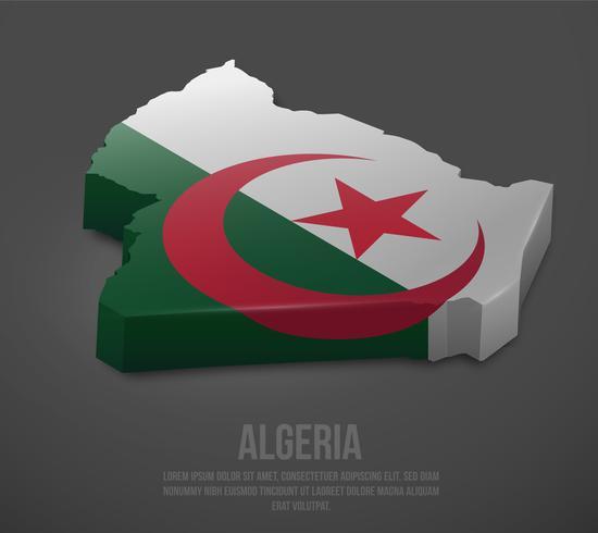 Vector 3d kaart van Algerije met vlag