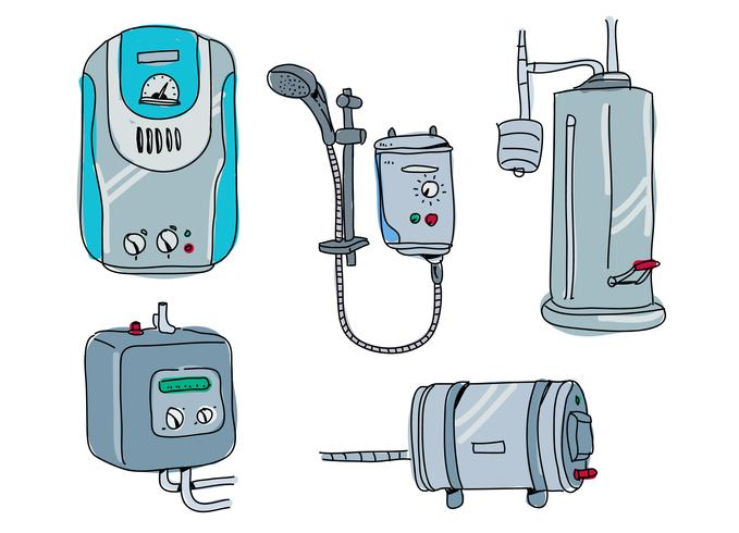 Water Heater Pump Hand Drawn Vector Illustration