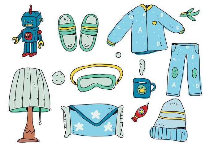 sängtid pojke startpaket handgjord vektor illustration
