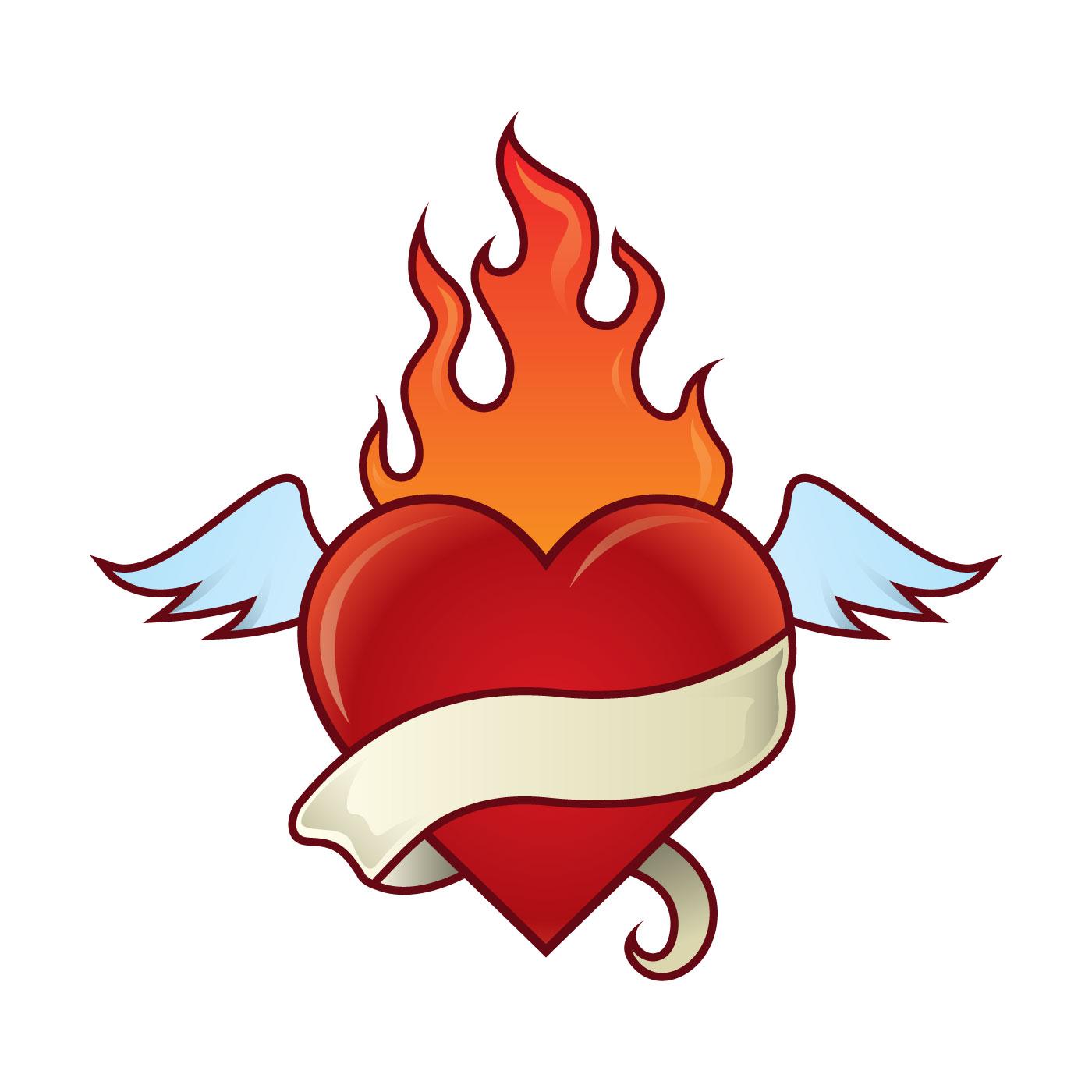 Flaming Heart Illustration - Download Free Vectors ...