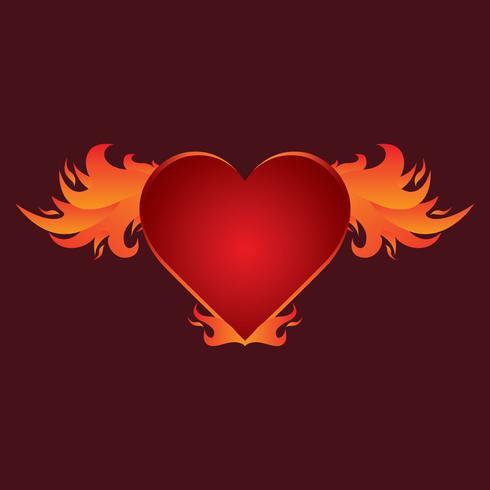 Mooie vlammende hart vleugels Vector