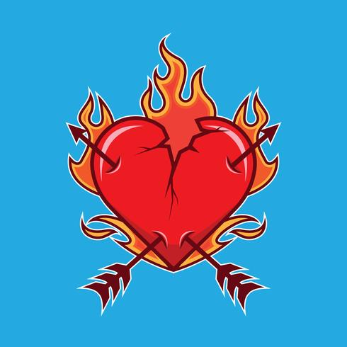 Broken Flaming Heart Illustration