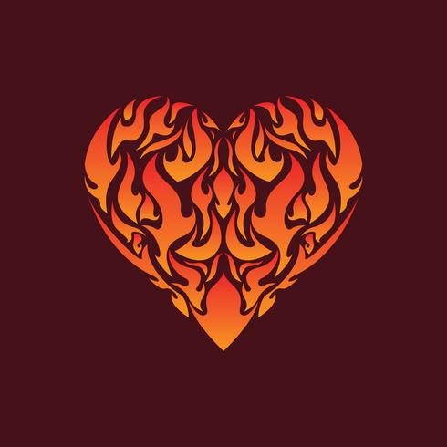 Flaming Inside Heart Illustratie Vector