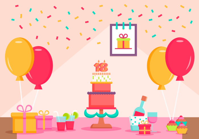 My 18 Years Birthday Party Free Vector Illustration
