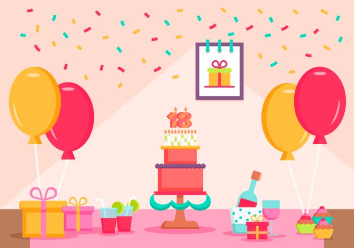 Mijn 18 jaar verjaardagspartij gratis vectorillustratie