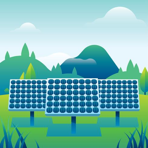 Solar Cell Power Plant Free Vector