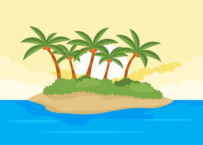 Desert Island Palmier Illustration Vectors