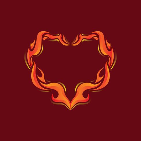 Flaming Outline Heart Illustration