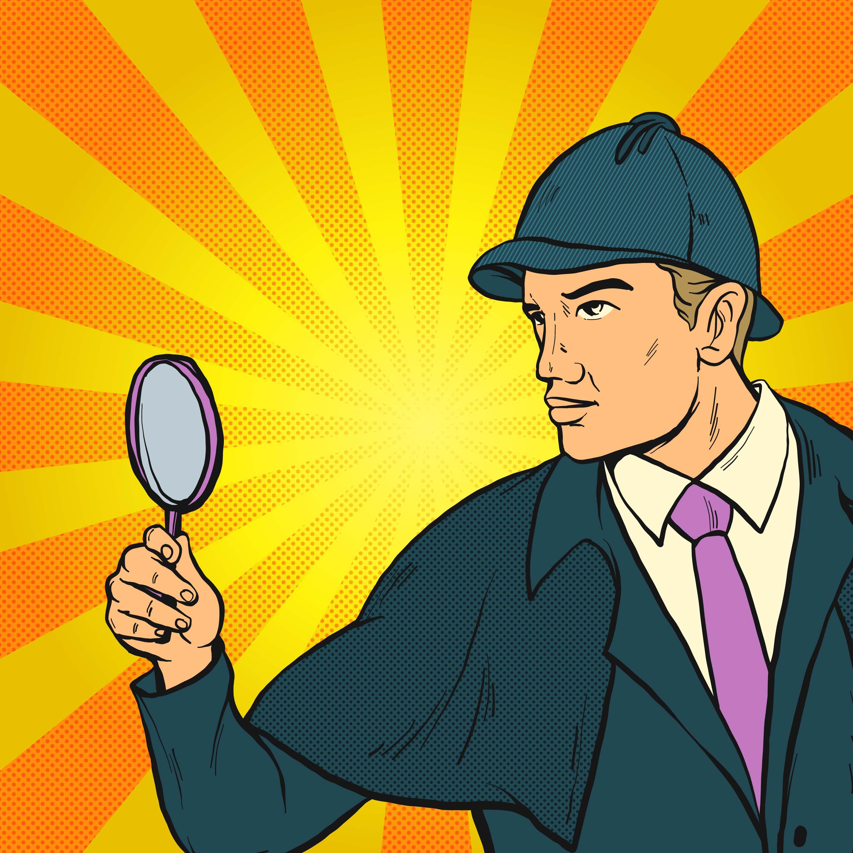 Art Illustration: Detective Looking For Clues Pop Art Illustration