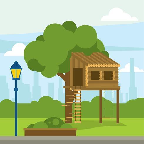 Tree House Gratis Vector