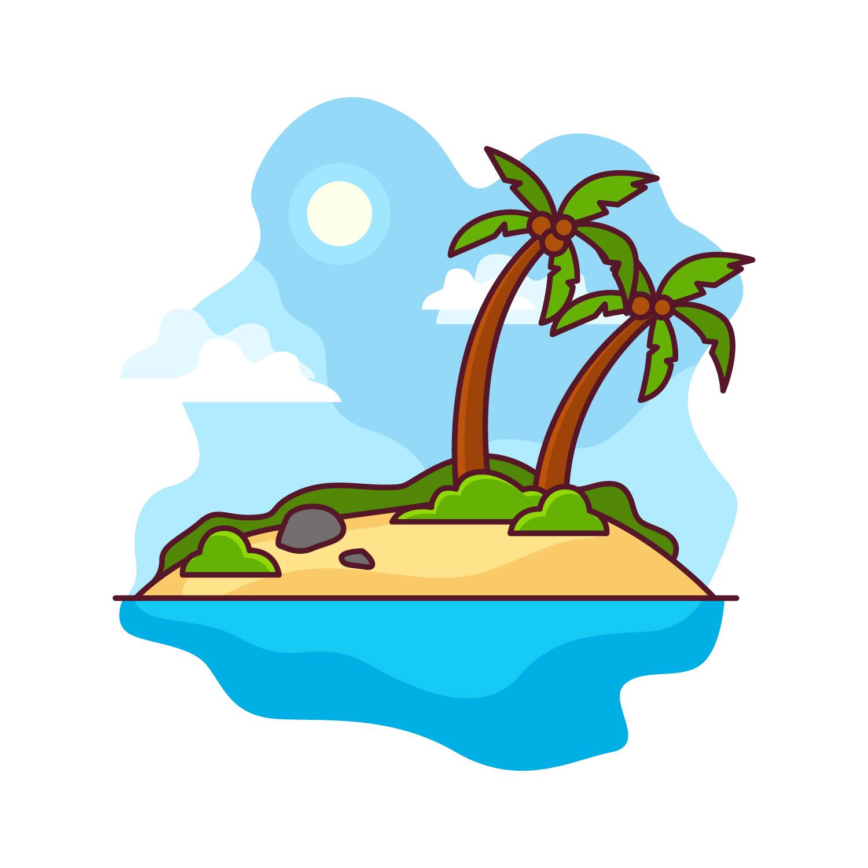 Deserted Island Beach: Desert Island Illustration