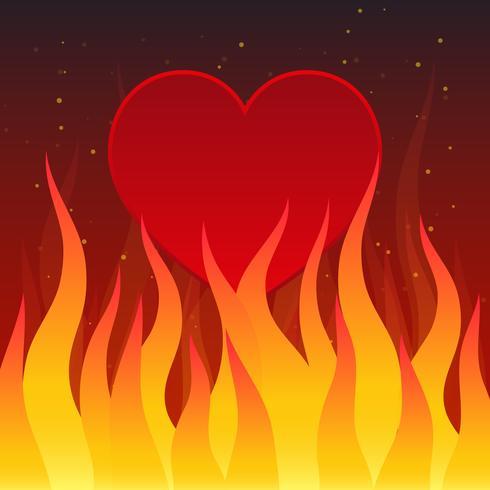 Brinnande hjärta på mörk bakgrunds illustration