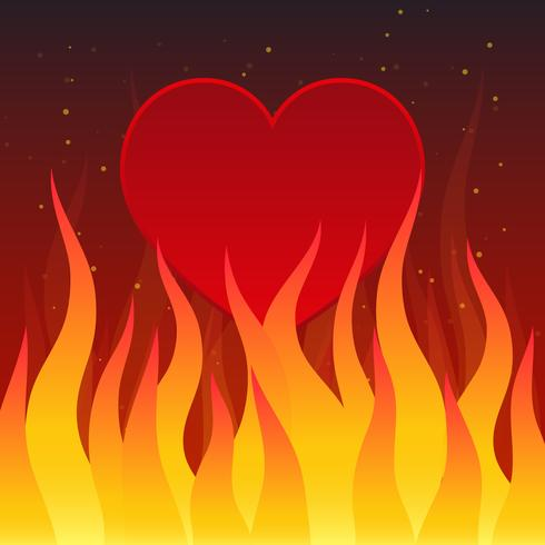 Brandend Hart op Donkere Illustratie Als achtergrond